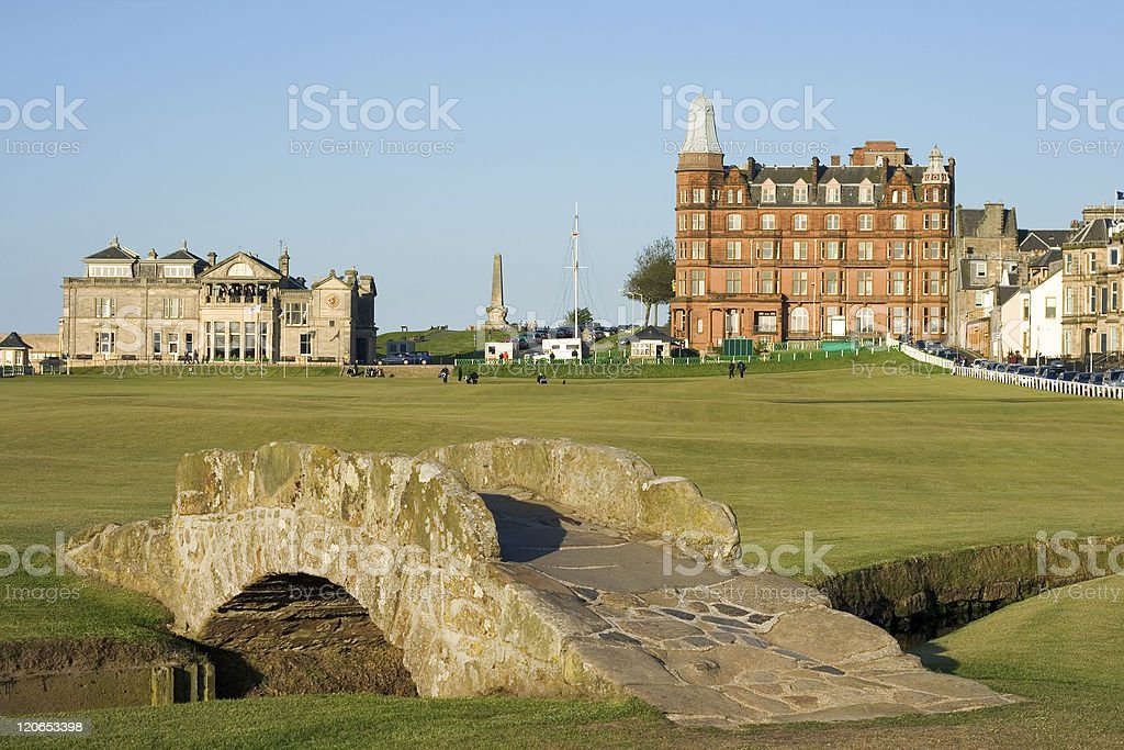 The famous Swilcan bridge on St Andrews Old Course stock photo