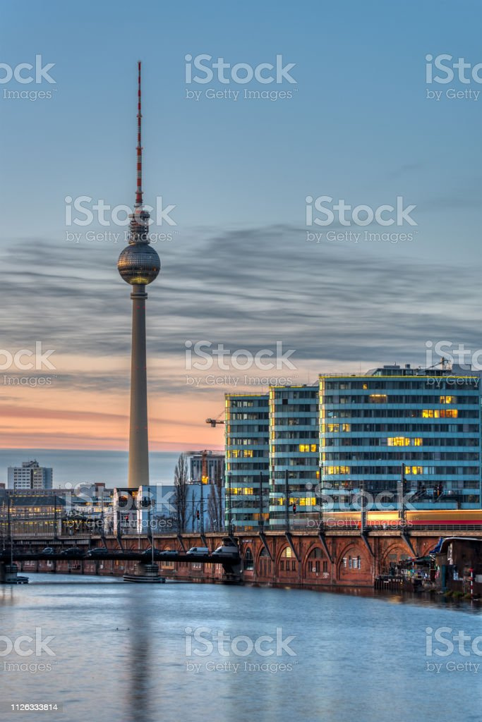 The famous Television Tower and the river Spree stock photo