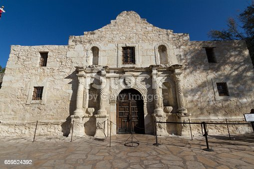 The Historic Spanish Mission and Texas Fort of Davey Crockett and Jim Bowie, The Alamo, in San Antonio, Texas.