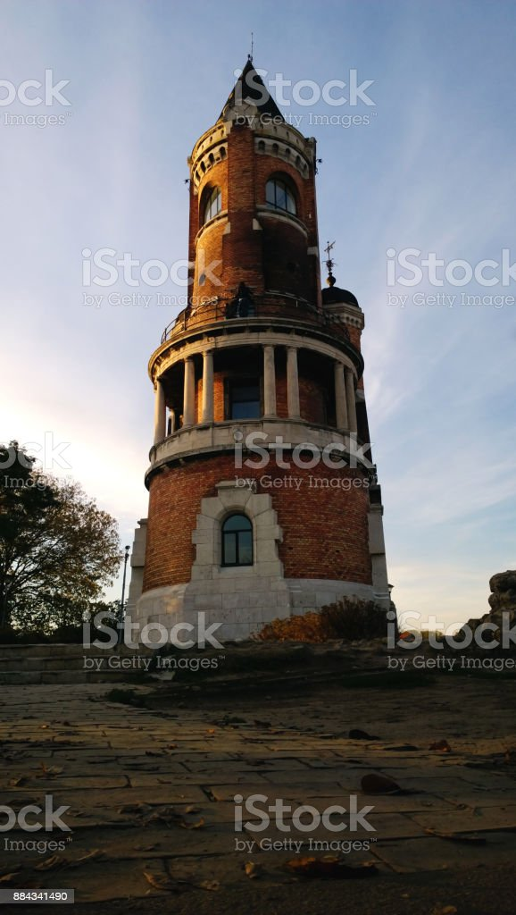 The famous tower of the Millenium (Gardosh) in the quarter of Zemun in Belgrade, Serbia. Vertical view stock photo