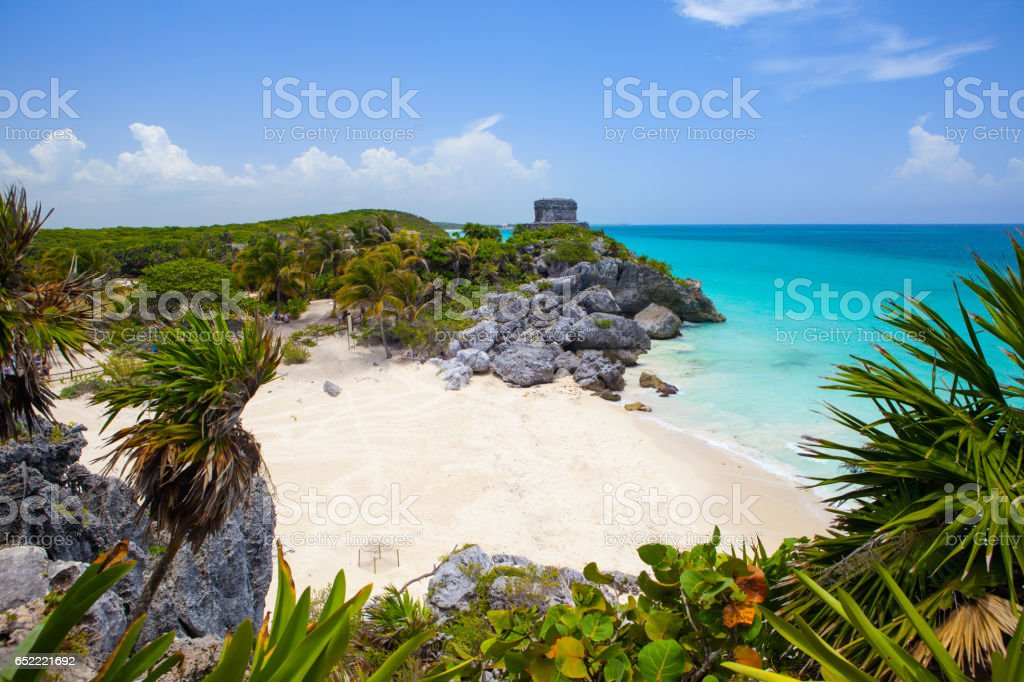 The famous Tulum Ruins in the Riviera Maya south of Cancun, Mexico stock photo