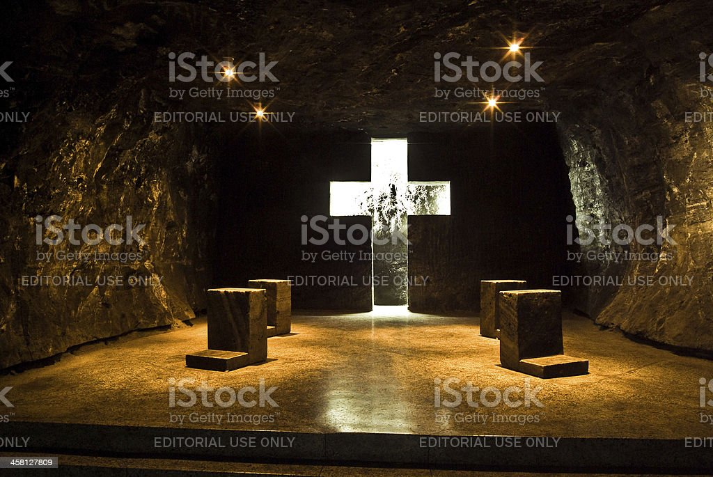the famous underground salt cathedral of zipaquirà royalty-free stock photo