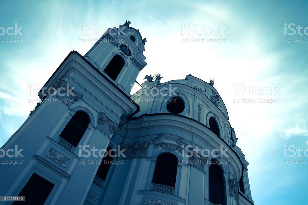 The famous University Church in Salzburg stock photo