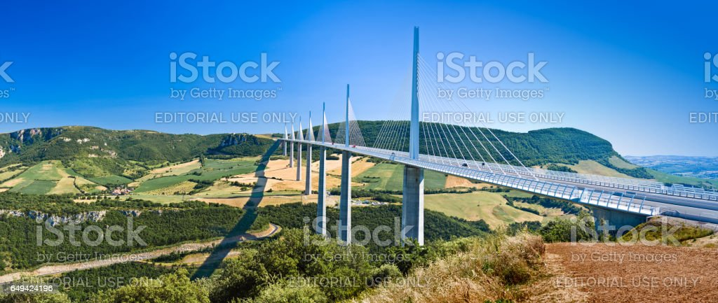 The famous viaduct Millau in a panoramic shot stock photo