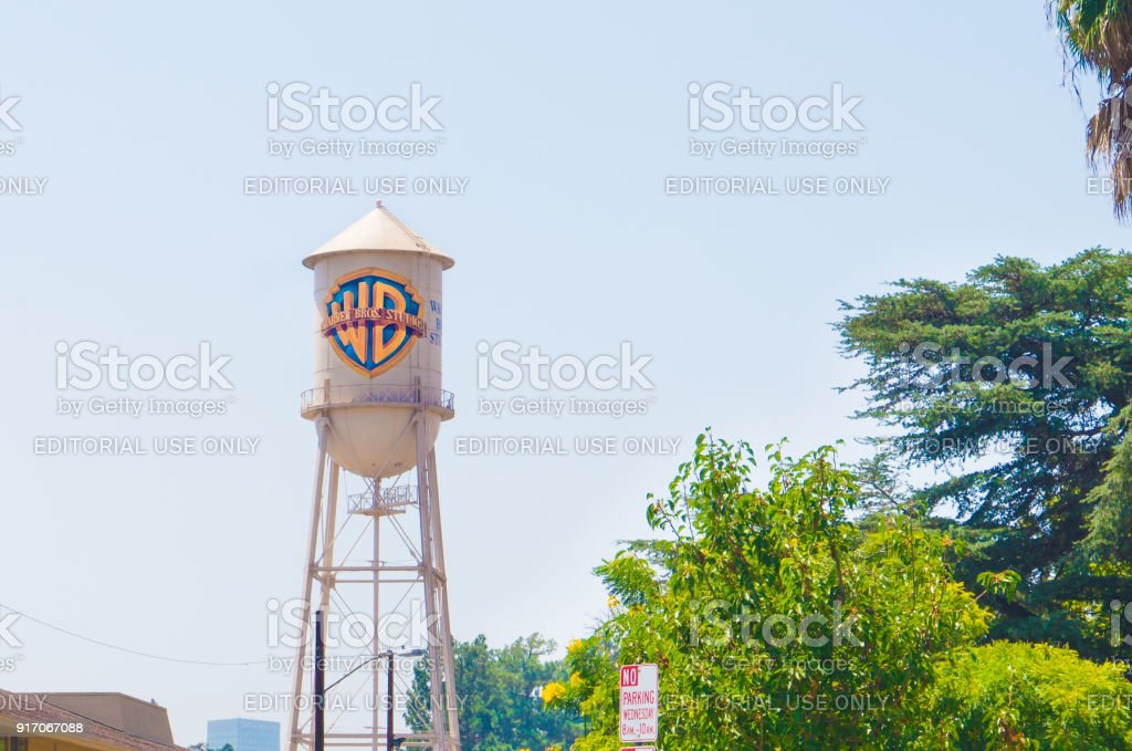 The famous water tower of Warner Brothers in Burbank. Warner Bros is an American entertainment company. stock photo