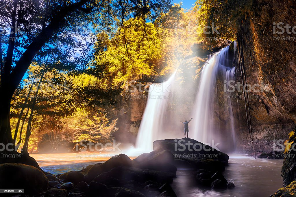 The famous waterfall park in Thailand royalty-free stock photo