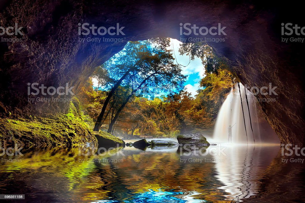 The famous waterfall park in Thailand Lizenzfreies stock-foto