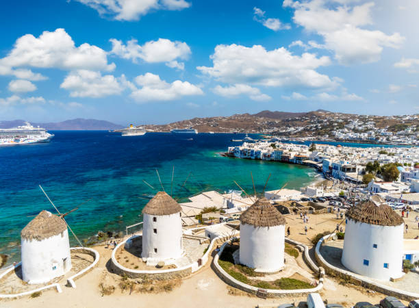 The famous windmills, Mykonos town, Cyclades, Greece stock photo