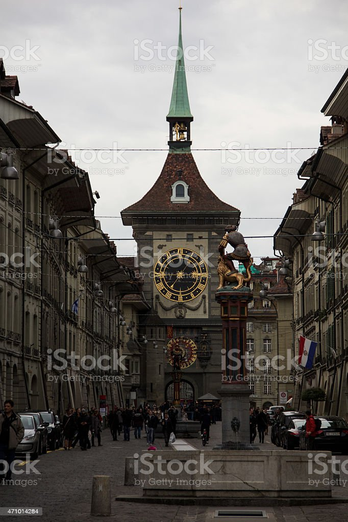 the famous zytglogge of bern during a rainy day stock photo