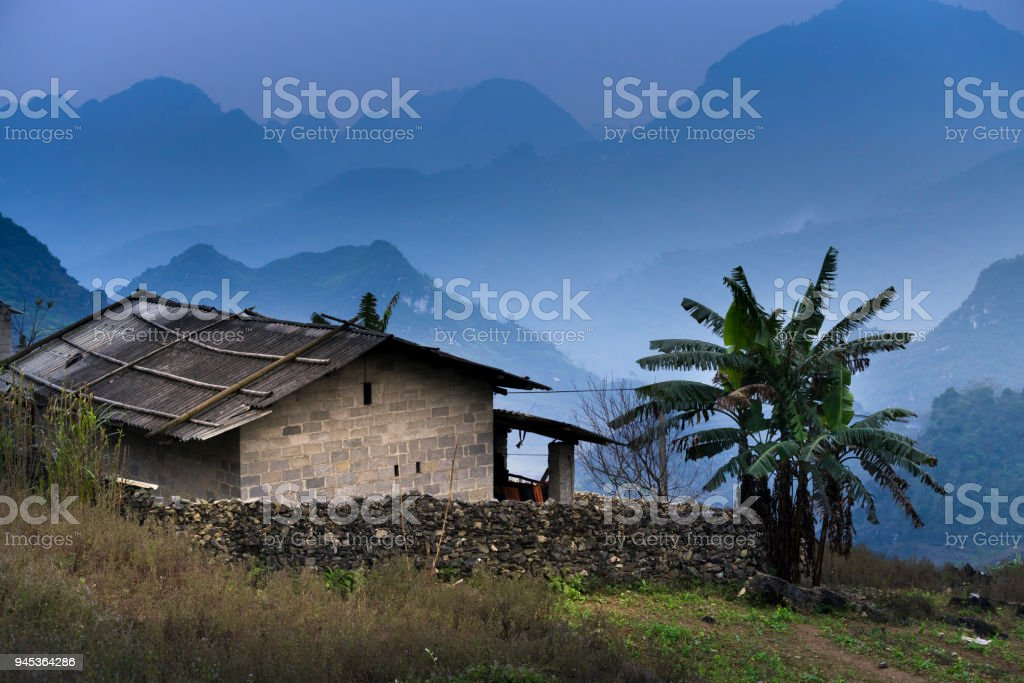 the fanciful landscape of the house of the people the mountainous minority in Ha Giang Province, Vietnam stock photo