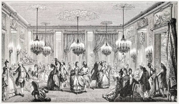 The Fancy Ball, 18th Century France stock photo
