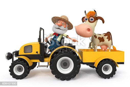 624869600 istock photo the farmer with a cow goes on the tractor 636407930