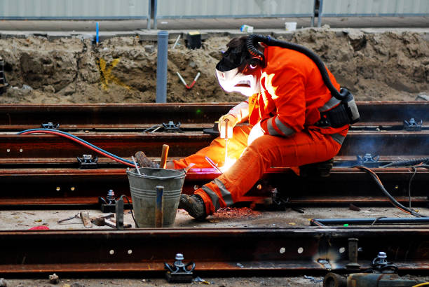 The fascinating way Railroad tracks are welded together stock photo