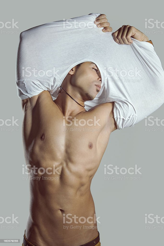 The fashion model is undresses to show sexy body royalty-free stock photo