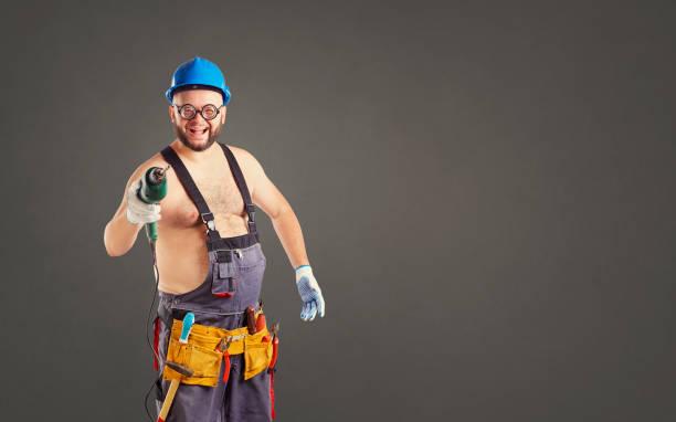 Die fetten lustigen Mann-Generator mit einem Bohrer – Foto