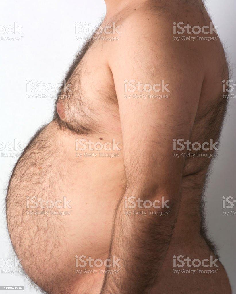 Der Dicke Mann Bauch - Lizenzfrei Abnehmen Stock-Foto