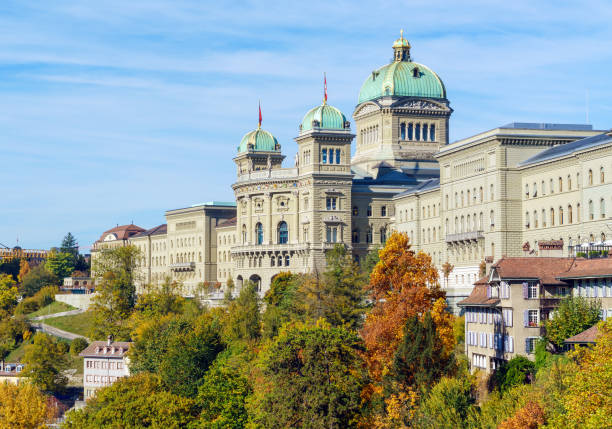 The Federal Palace (1902) or Parliament Building,  Bern, Switzerland stock photo