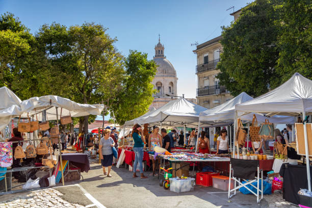 The Feira da Ladra is a twice weekly market stock photo