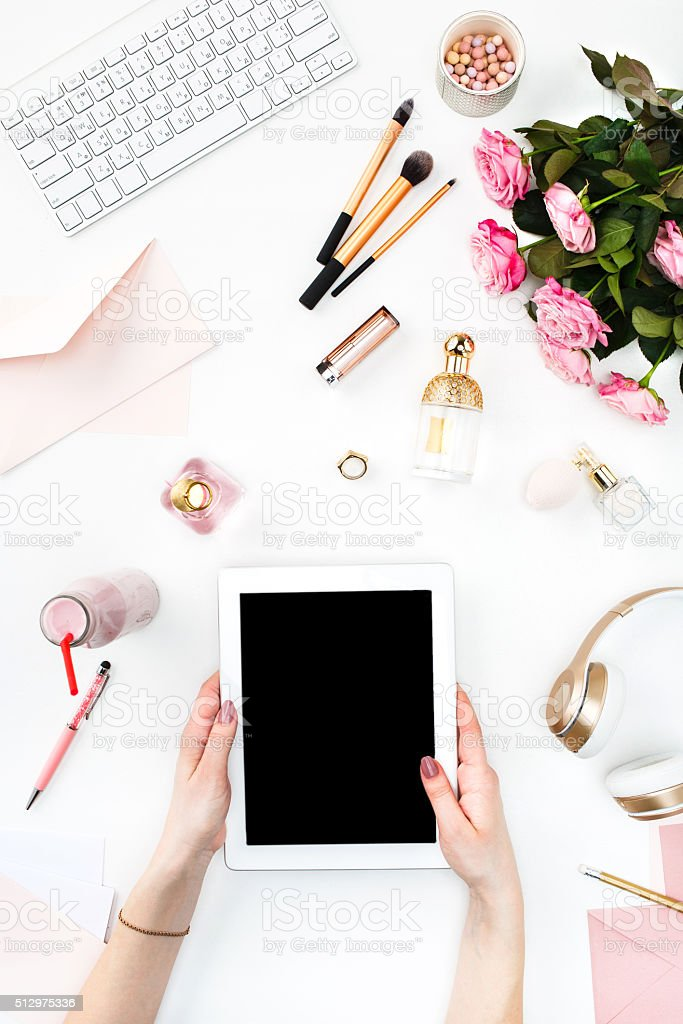 The female hands and tablet stock photo