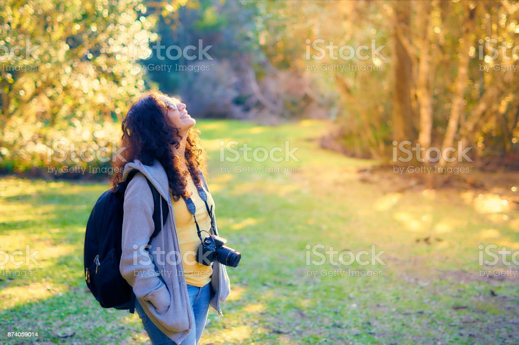 The female photographer is contemplates the forest and the birds in a beautiful green forest. stock photo
