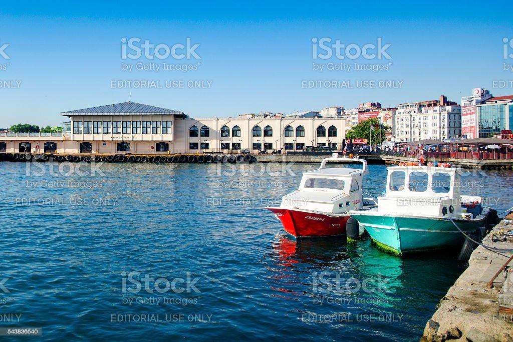 The ferry for Istanbul, Kadikoy Pier. stock photo
