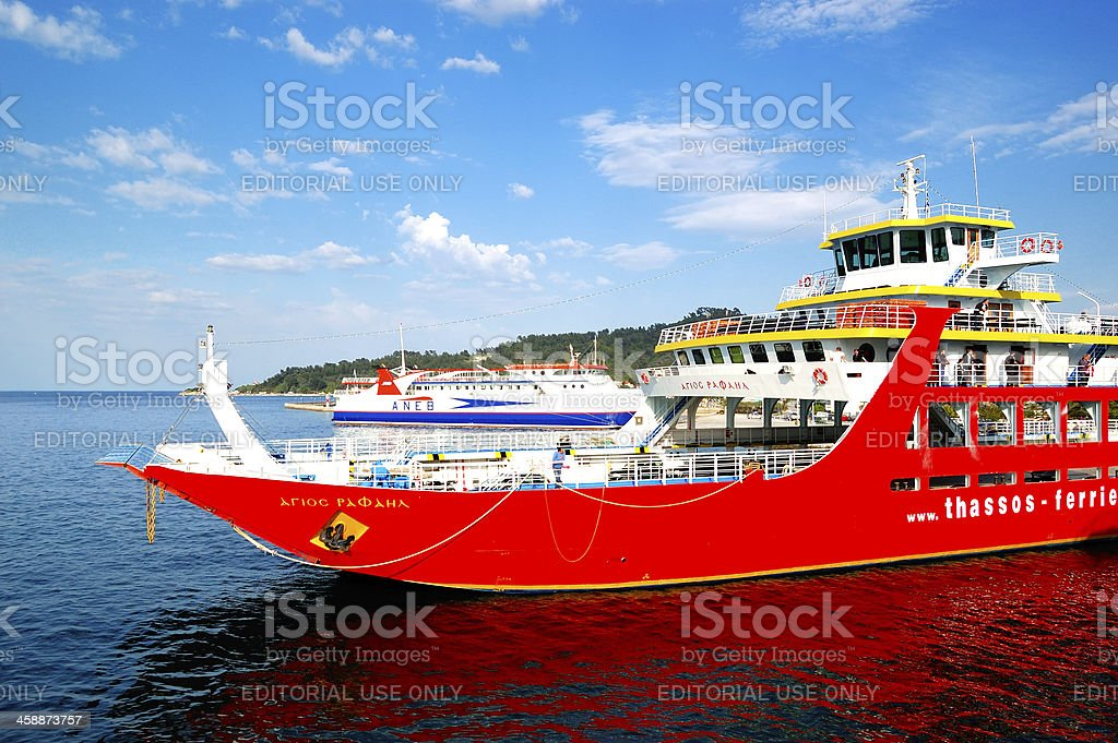 The ferry going to Thassos island royalty-free stock photo