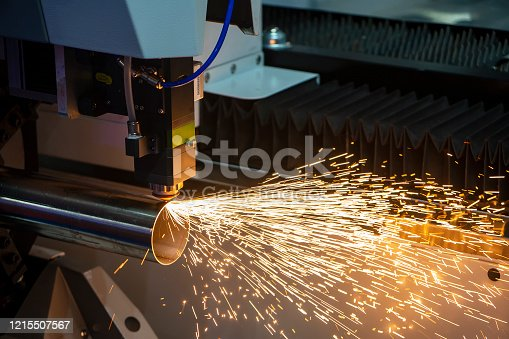 The fiber laser cutting machine cutting the stainless steel tube control by CNC program. The sheet metal working processing by laser cutting machine make the engrave at the stainless steel pipe parts.