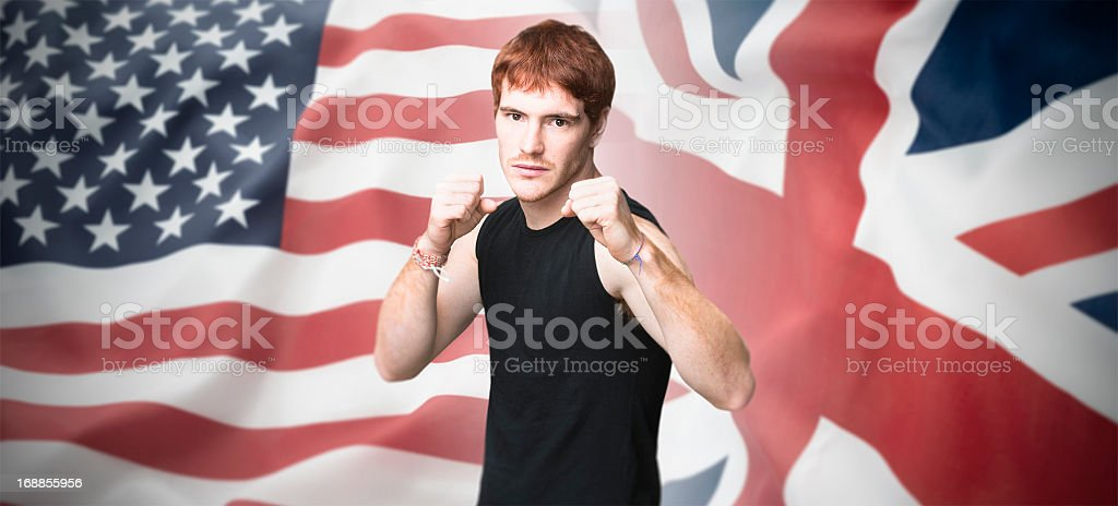The fight boxer match - usa vs uk royalty-free stock photo