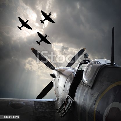 The Fighter planes. Digital artwork on second world war theme. On memory Battle of Britain anniversary. Are used fictive aircraft with vintage style look.