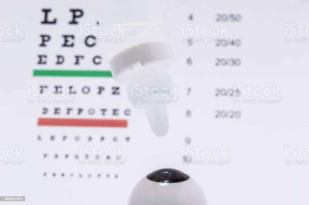 The figure of the eyeball with eye drops over it on the background of the table for visual acuity testing. Diagnosis and treatment of eye diseases or allergy stock photo