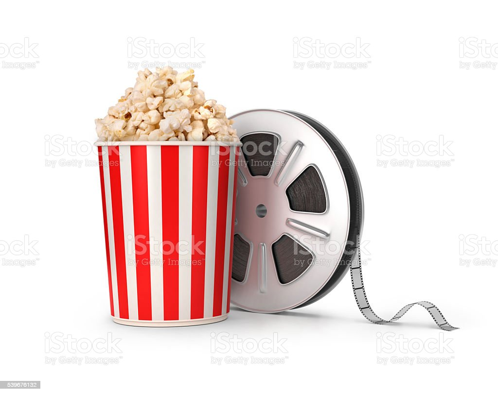 The film reel and popcorn. stock photo