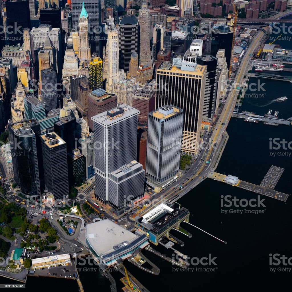 The Financial District and Wall Street in Manhattan, New York stock photo