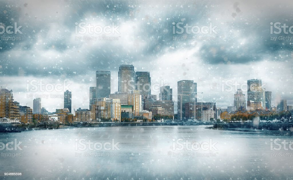 The financial district Canary Wharf in London stock photo