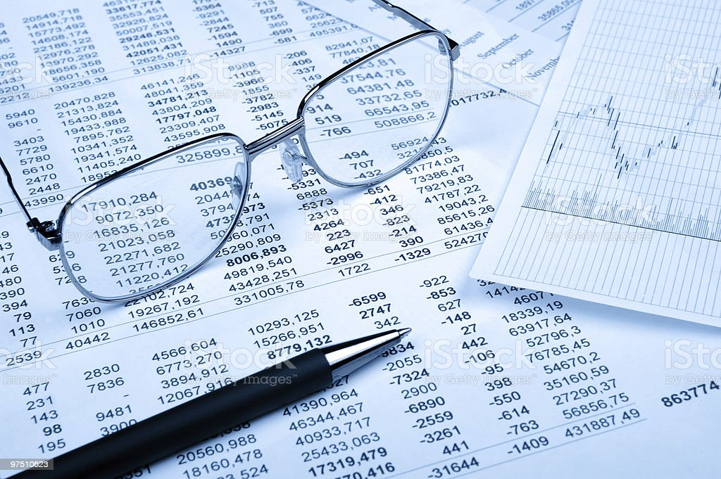 The financial report. Blue tone royalty-free stock photo