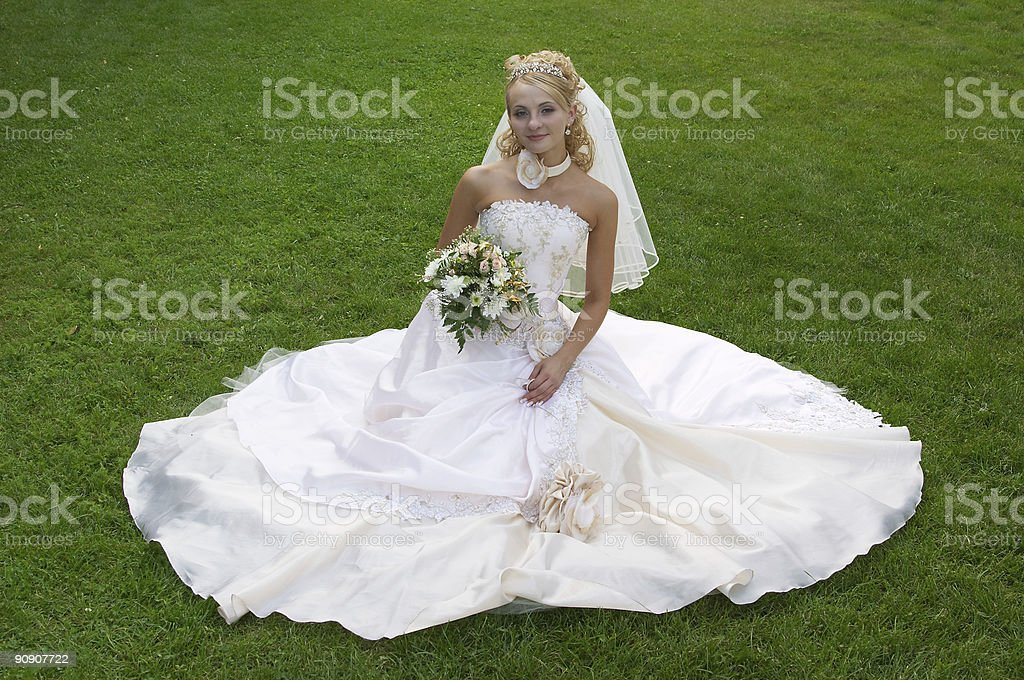 The fine bride sits on a meadow. royalty-free stock photo