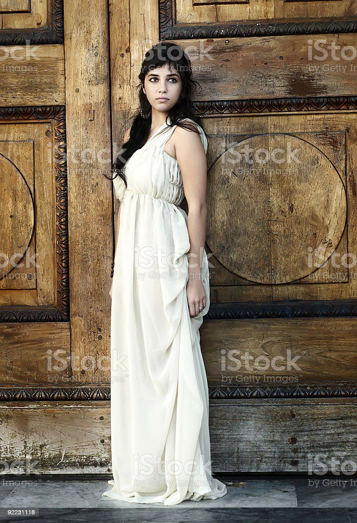 The fine young girl with a light dress. Romance style stock photo