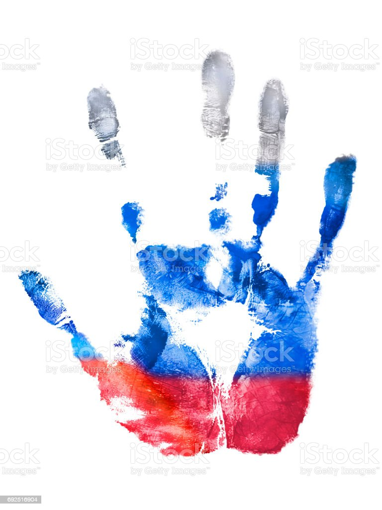 The fingerprint of the right hand of the Russian Federation flag colors stock photo