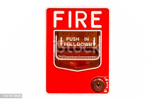 fire alarm button on the wall white