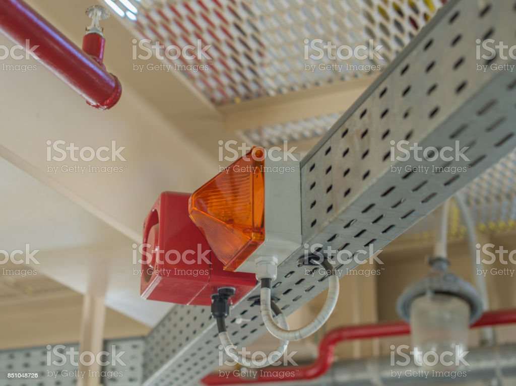 The fire alarm system. The combination of sound and light alert stock photo