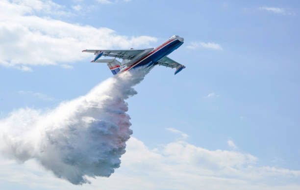The fire from the plane. stock photo