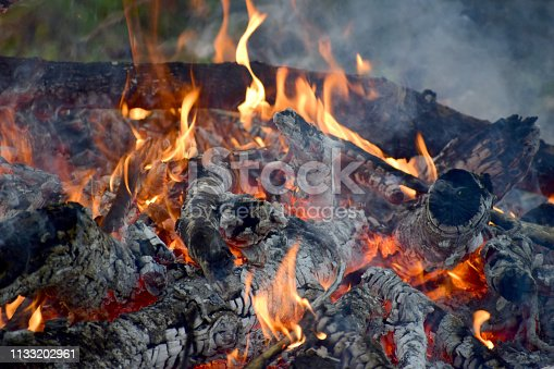 The fire is burning wood