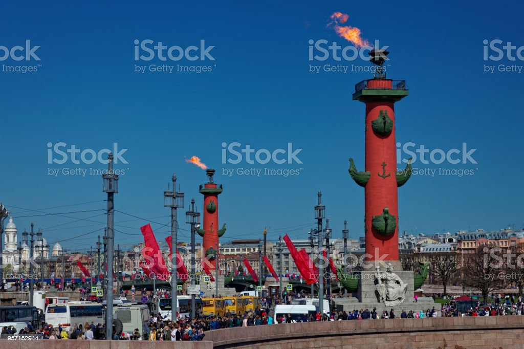 The Fire Of The Rostral Columns In Victory Day In St Petersburg Russia  Stock Photo - Download Image Now