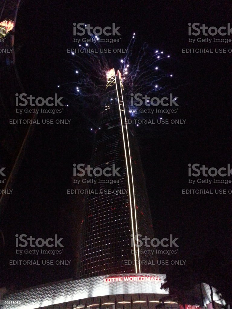 The fireworks celebration of the New Year at the top of Lotte World Tower in Seoul, Korea stock photo