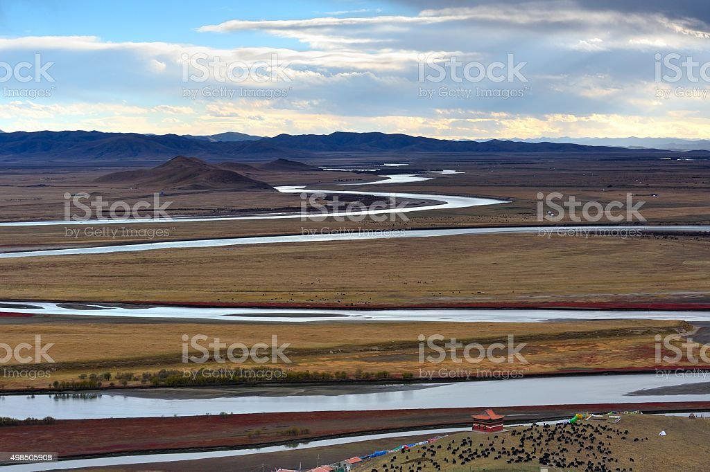 The first bend of Yellow river in China 001 stock photo