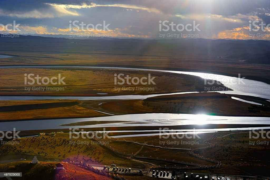 The first bend of Yellow river sunset clouds 001 stock photo
