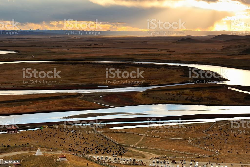The first bend of Yellow river sunset clouds 006 stock photo