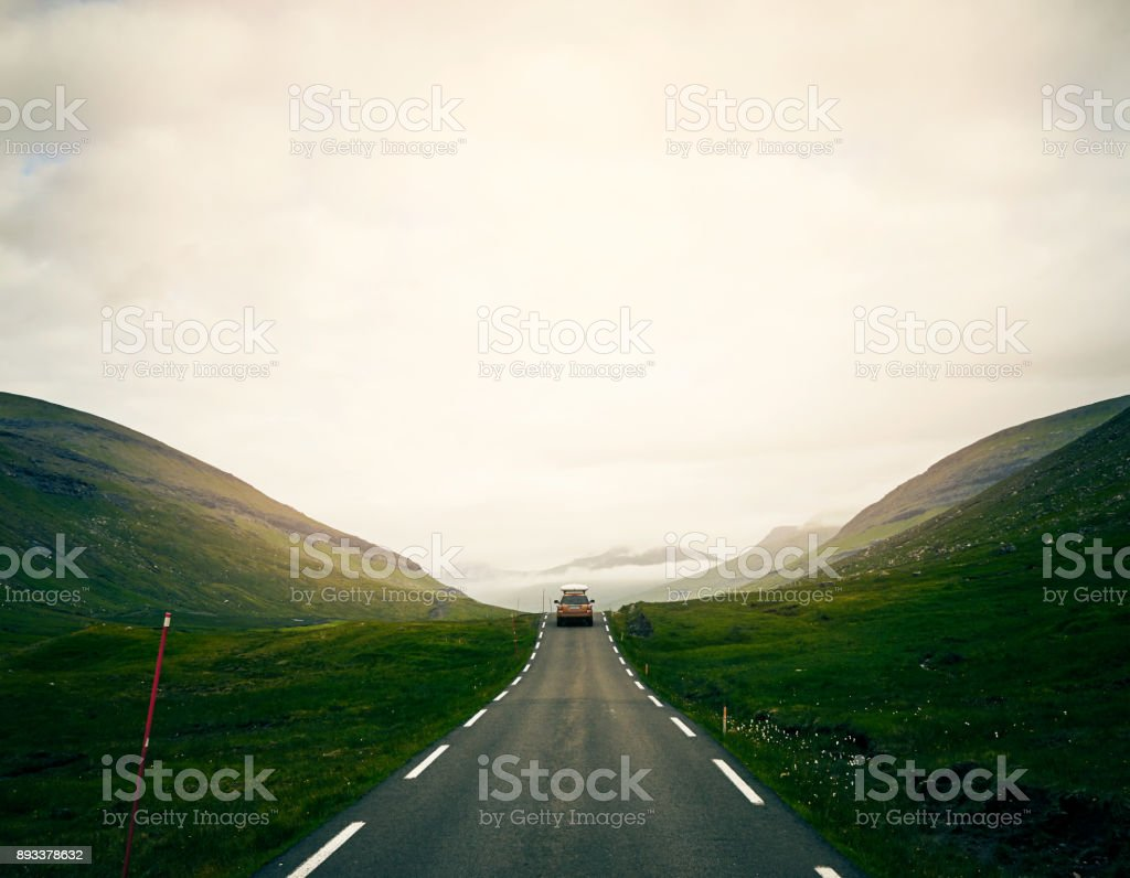 The first car I've seen in days stock photo
