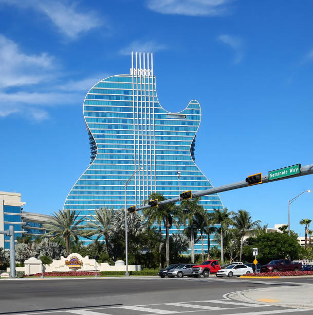 The first guitar shaped hotel in the world. stock photo