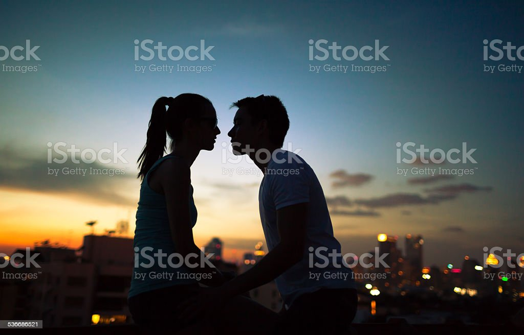 the first kiss Romantic couple kissing in the city 2015 Stock Photo