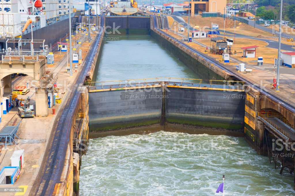 The first lock of the Panama canal from the Pacific ocean. stock photo